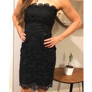 WHBM | Classic Black Flowery Lace Strapless Dress
